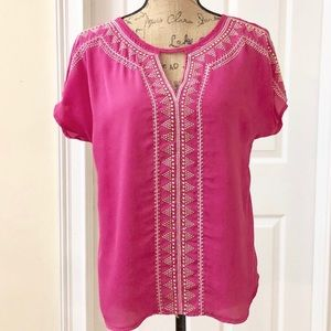 miami | Indie inspired Embellished Pink Blouse | M